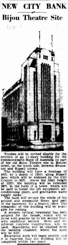 new city bank bijou theatre site Argus 16 May 1939